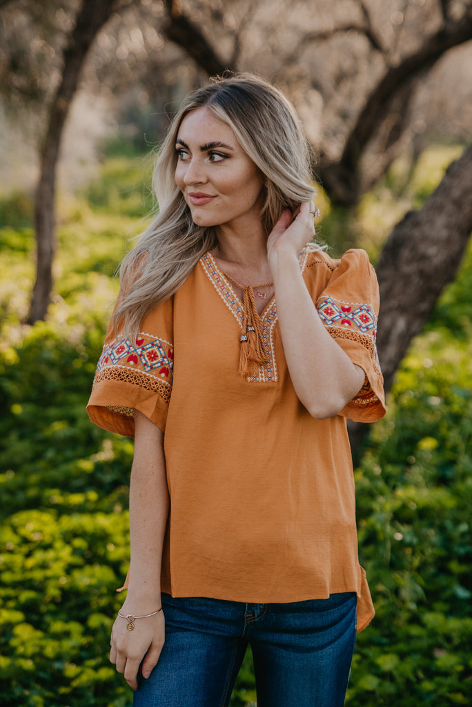 The Elana Embroidered Top in Marigold