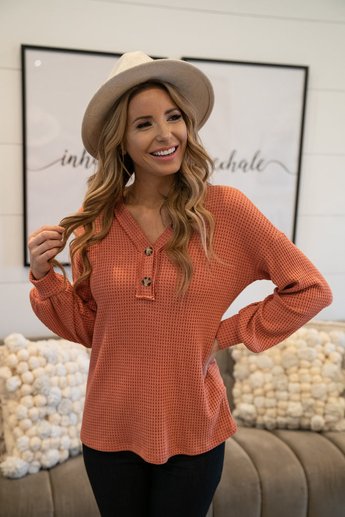 The Fairfax Waffle Knit Top in Pumpkin