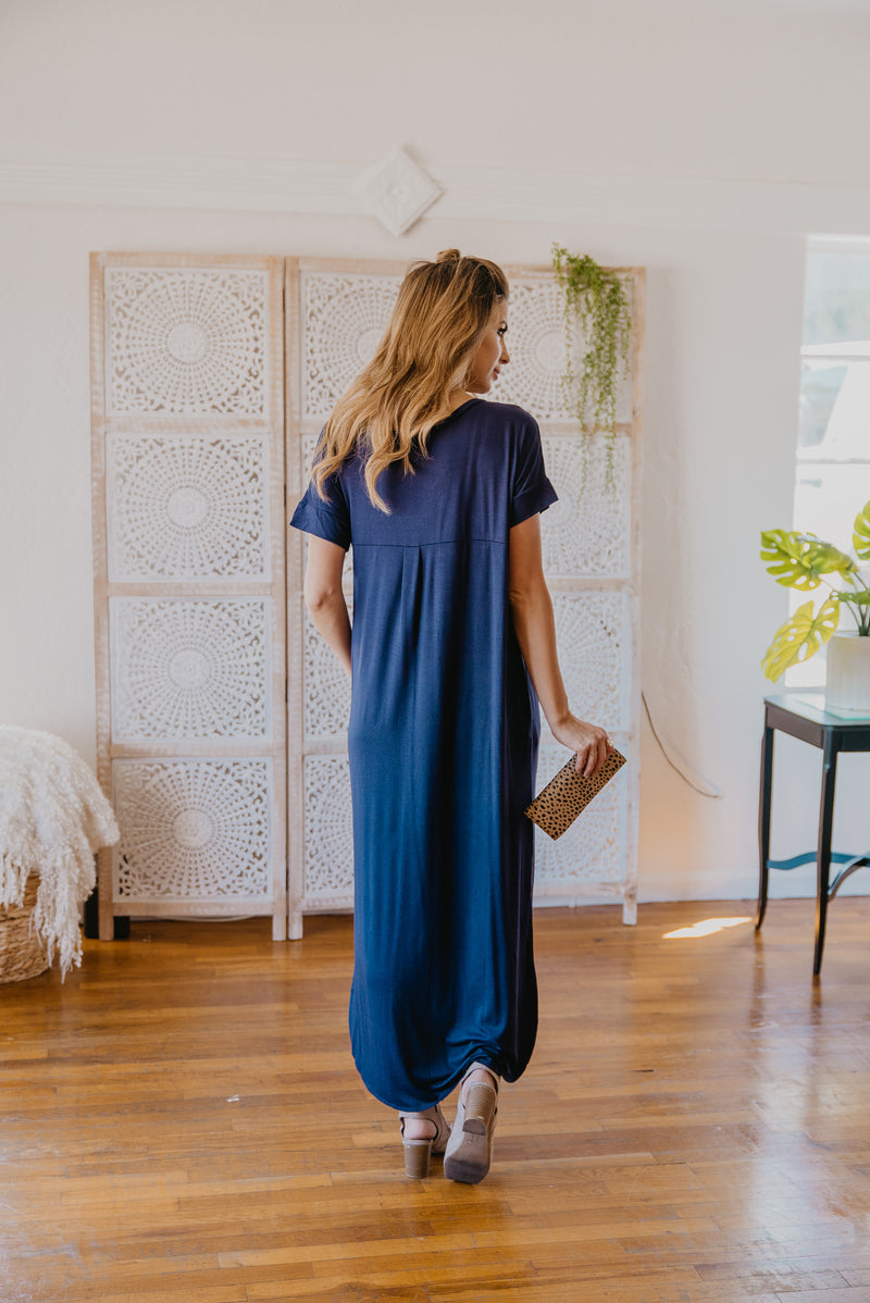 WI Basics: The Tess Solid Maxi in Navy (Sizes S-3X)