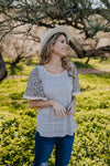 The Aldama Animal Print Raglan in Soft Gray