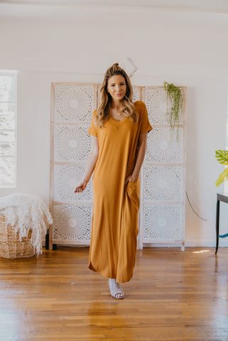 WI Basics: The Wynn Long Sleeve Maxi in Mustard (Sizes S-3X)
