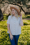 The Meredith Grid Button Top in Ivory