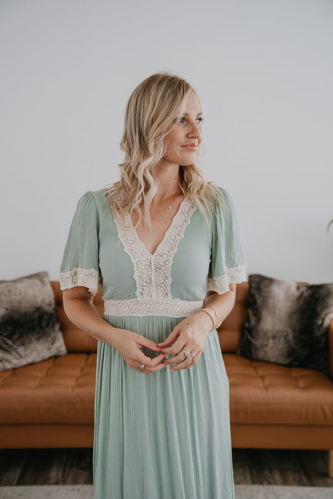 The Serifima Lace Trim Maxi in Seafoam, maxi dress, tiered dress, Baby Bump Friendly, lined, wide sleeves, fashion, Wren & Ivory, Wren and Ivory, all season dress, lace insets, lace trim dress