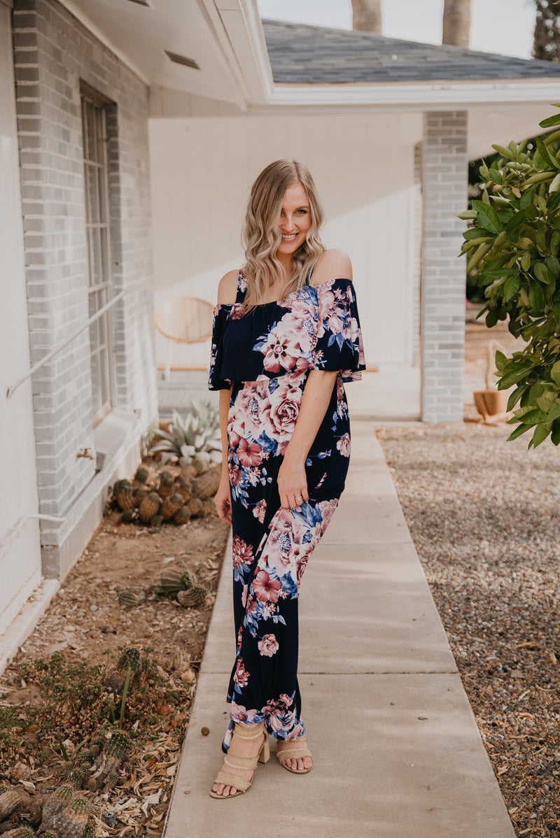 The Ariella Off-the-Shoulder Maxi in Navy