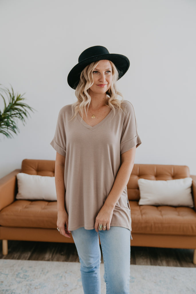 WI Basics: The Eady Cuff Sleeve Top in Iced Mocha, Wren & Ivory Basics, comfortable Tee, stretchy fabric, fashion, Wren & Ivory, Wren and Ivory, short sleeves, ruffle sleeve, v-neck, Baby Bump Friendly, plus sizes, light mocha top, light brown top