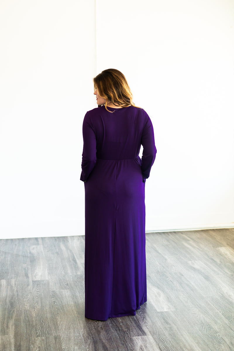 The Eclipse Solid Maxi in Plum (Sizes 1X-3X)