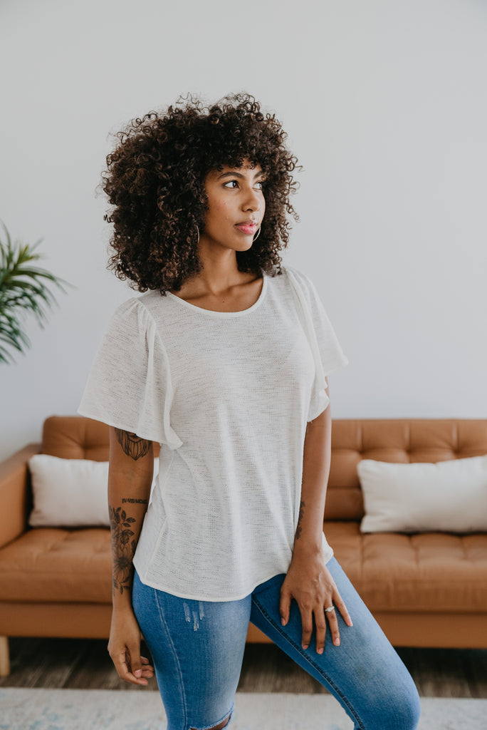 The Fintan Flare Sleeve Top in Ivory, lightweight top, women fashion, Wren & Ivory, Wren and Ivory, fashion top, flare ruffle sleeve, relaxed fit, short sleeves, round neck, summer top, white top