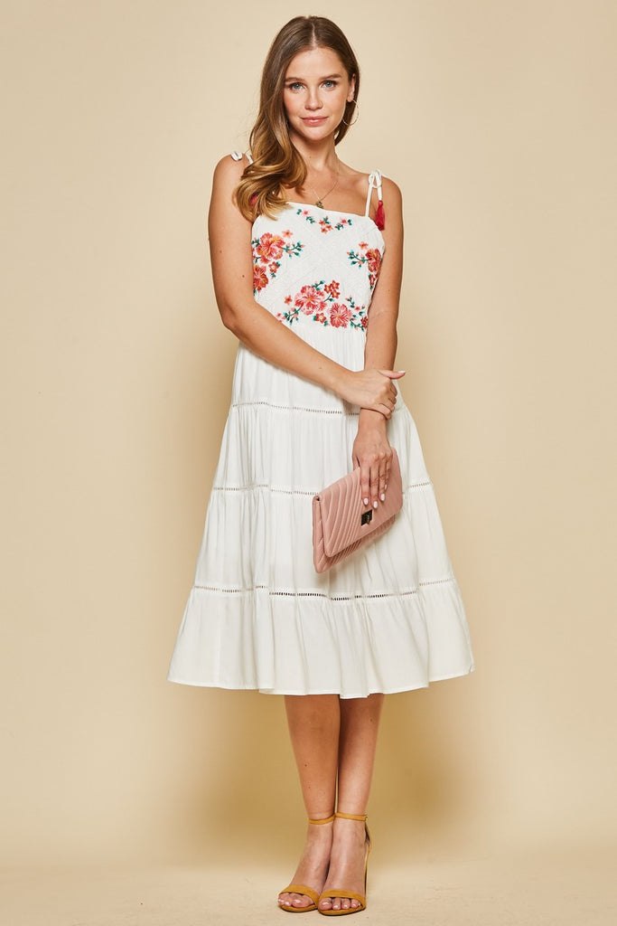 The Havana Embroidered Midi in Ivory