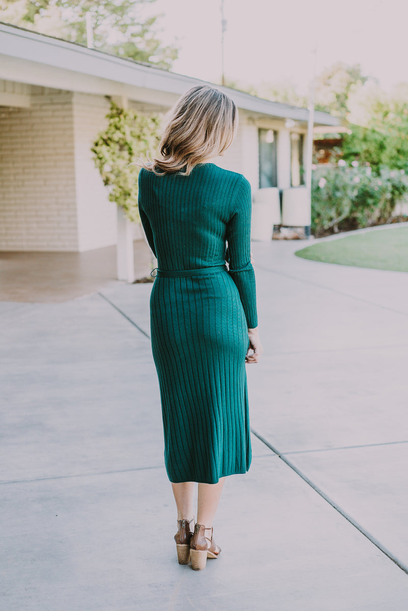 The Isabel Sweater Dress in Hunter Green