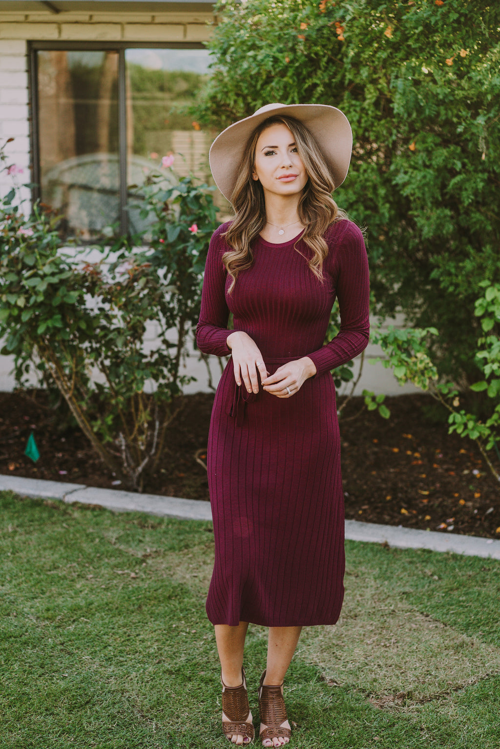 The Isabel Sweater Dress in Mulberry