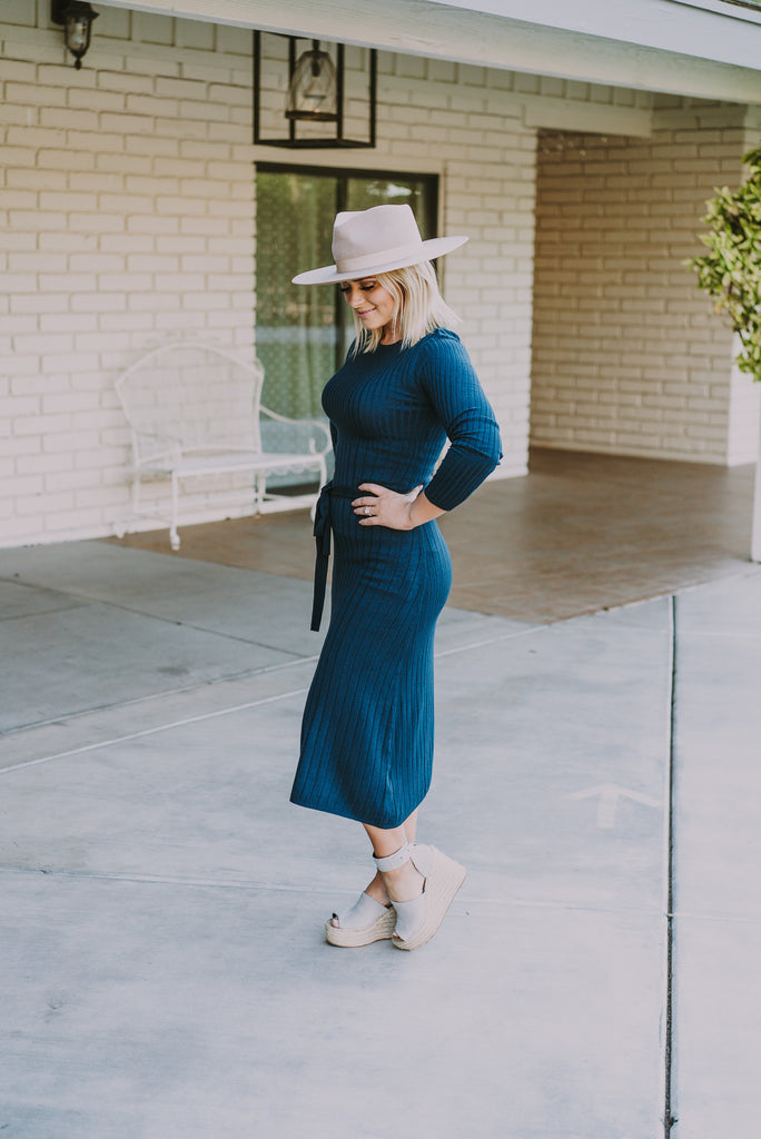 The Isabel Sweater Dress in Navy