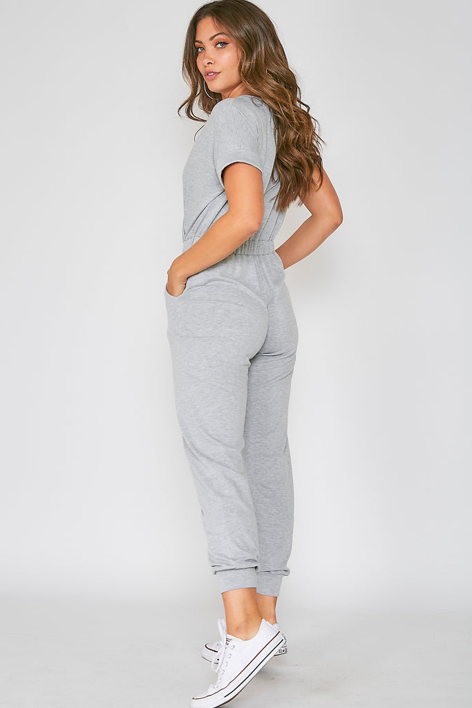 The Padma Jogger Jumpsuit in Heather Gray