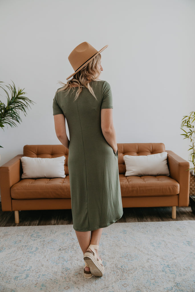 WI Basics: The Lana Tee Dress in Light Olive (Sizes S-3X)