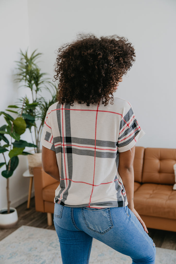 The Marge Boyfriend Tee in Plaid, short sleeve, women fashion, Wren & Ivory, Wren and Ivory, fashion top, wide plaid, v neck, loose cut, cuffed short sleeve, lightweight stretchy fabric, casual comfort, Baby Bump Friendly, Plus sizes, fall top