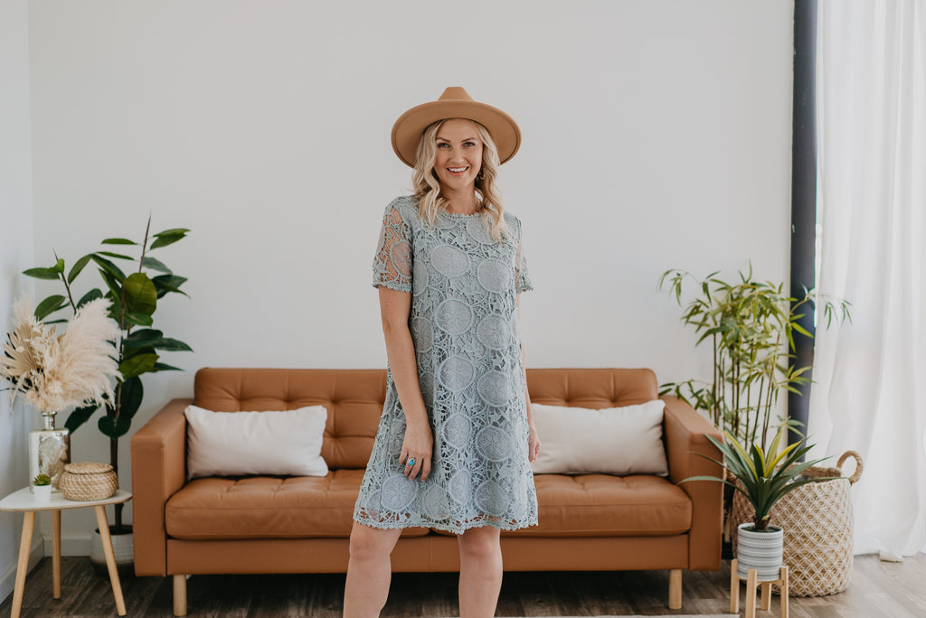 The Meres Eyelet Lace Dress in Blue Sage, Wren & Ivory dress, fashion, Wren & Ivory, Wren and Ivory, short sleeves, light blue sage dress, mid length, round neckline, crochet lace, A Line, lined, eyelet lace sleeves, bridesmaid dress