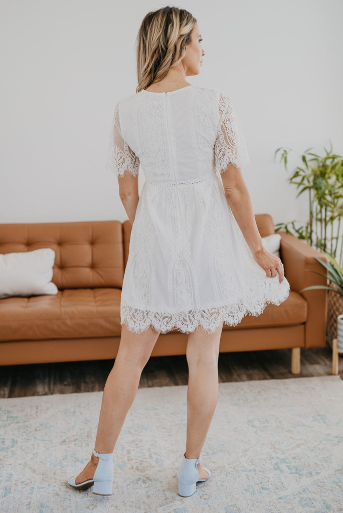 The Minden Lace Dress in Ivory, mini dress, scalloped lace, fashion, Wren & Ivory, Wren and Ivory, lace sleeves, little black dress, crochet hem, special event dress, plus sizes