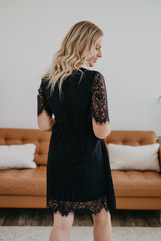 The Minden Lace Dress in Black, mini dress, scalloped lace, fashion, Wren & Ivory, Wren and Ivory, lace sleeves, little black dress, crochet hem, special event dress