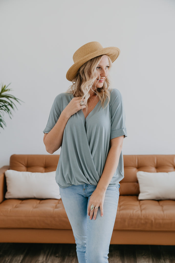 WI Basics: The Niki Surplice Top in Light Sage, Wren & Ivory Basics, comfortable top, stretchy fabric, fashion, Wren & Ivory, Wren and Ivory, short sleeves, draped front, surplice top, v-neck, Baby Bump Friendly, plus sizes, blue green top