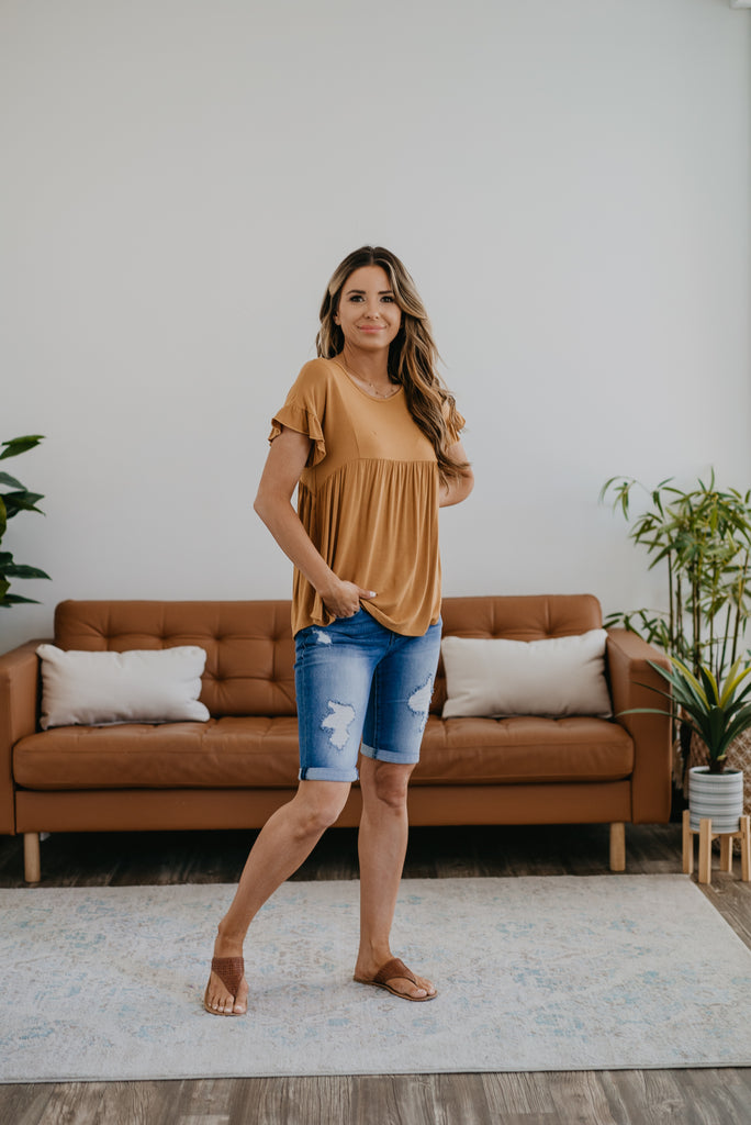 The Pelli Babydoll Top in Mustard