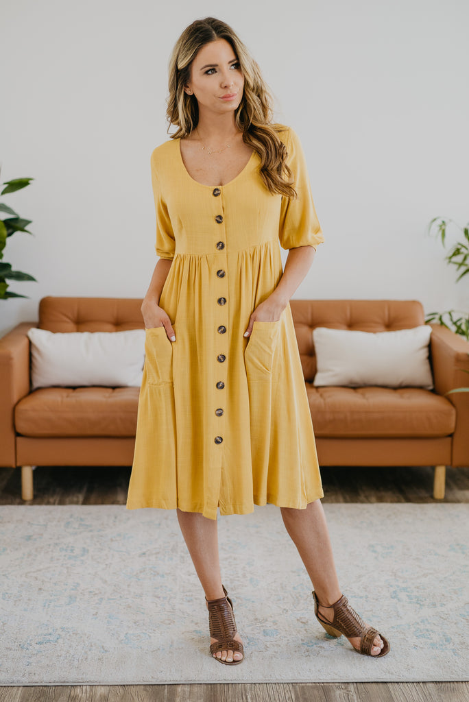 The Remington Button Midi in Mustard, solid yellow, women fashion, Wren & Ivory, Wren and Ivory, fashion, functioning buttons, pockets, midi dress, Nursing Friendly, bubble sleeve, plus sizes