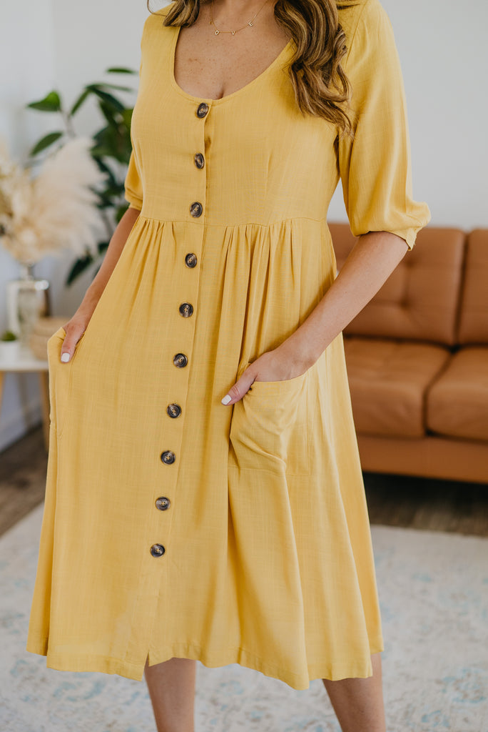 The Remington Button Midi in Mustard, solid yellow, women fashion, Wren & Ivory, Wren and Ivory, fashion, functioning buttons, pockets, midi dress, Nursing Friendly, bubble sleeve