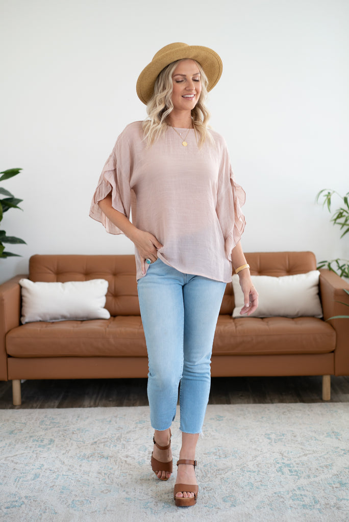 The Simone Ruffle Sleeve Top in Blush, half sleeve, women fashion, Wren & Ivory, Wren and Ivory, fashion top, blush pink top, round neck, loose cut, waterfall ruffle sleeve, lightweight fabric, keyhole back closure