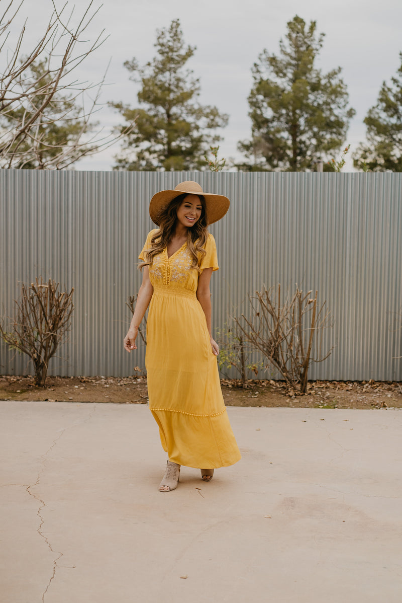 The Shania Embroidered Maxi in Sunshine
