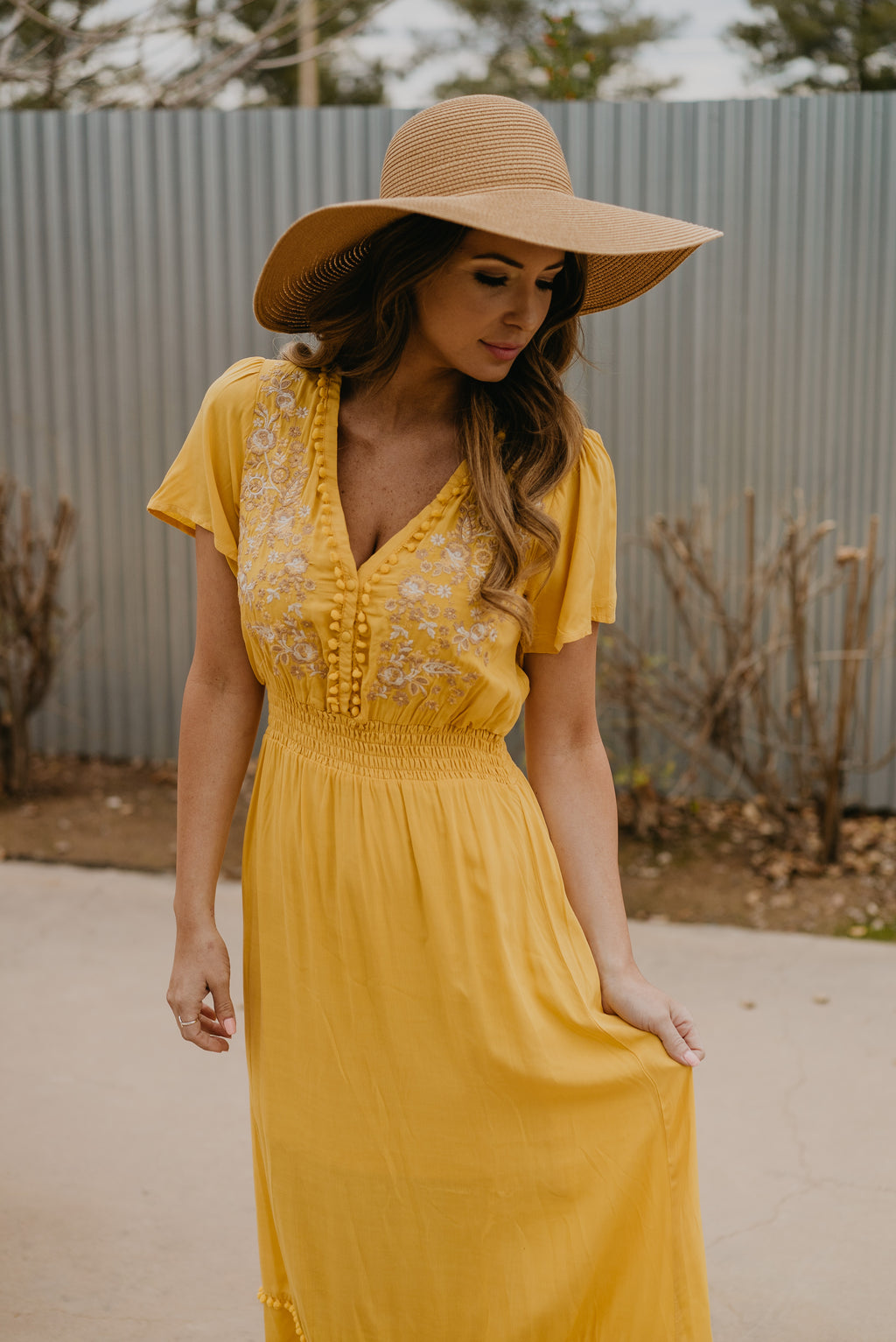 072018d85fa The Shania Embroidered Maxi in Sunshine (Sizes S-3X)