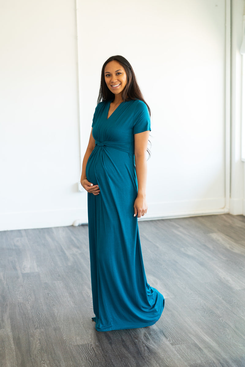 The Solid Maxi with a Twist in Dark Teal (Sizes S-3X)