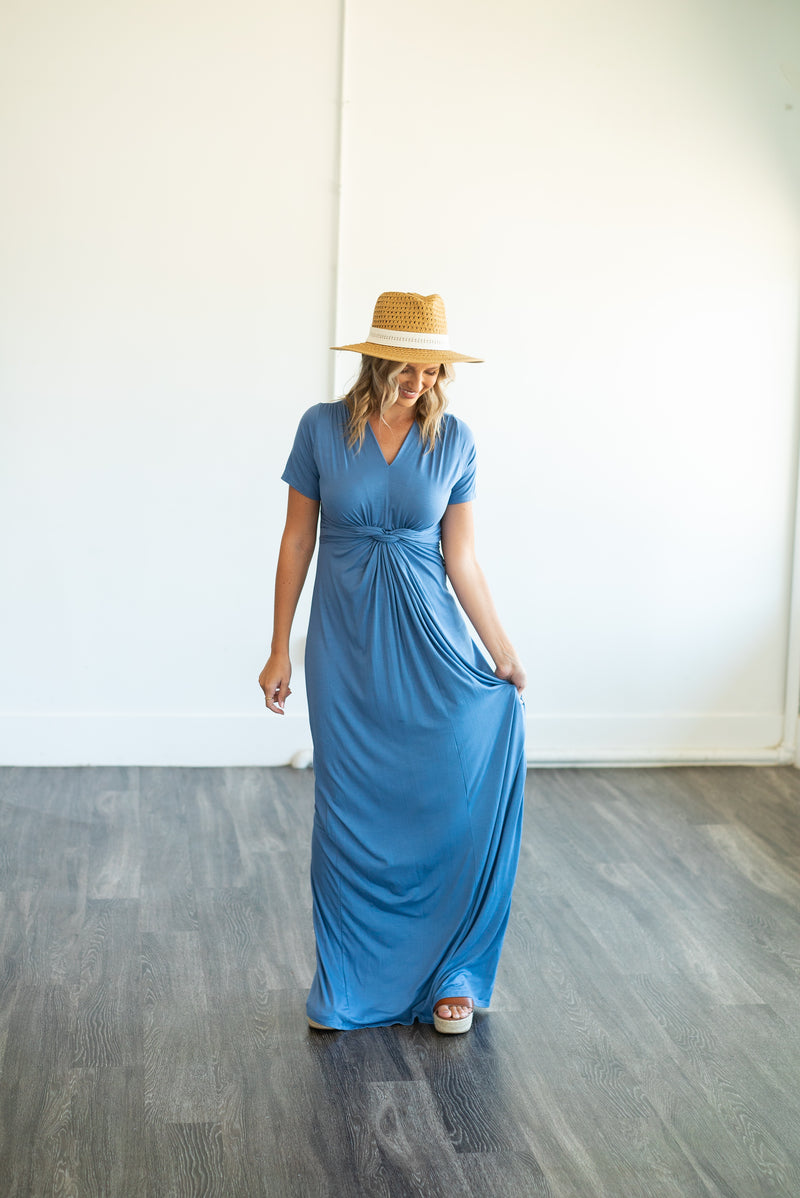 The Solid Maxi with a Twist in Dusty Blue (Sizes S-3X)