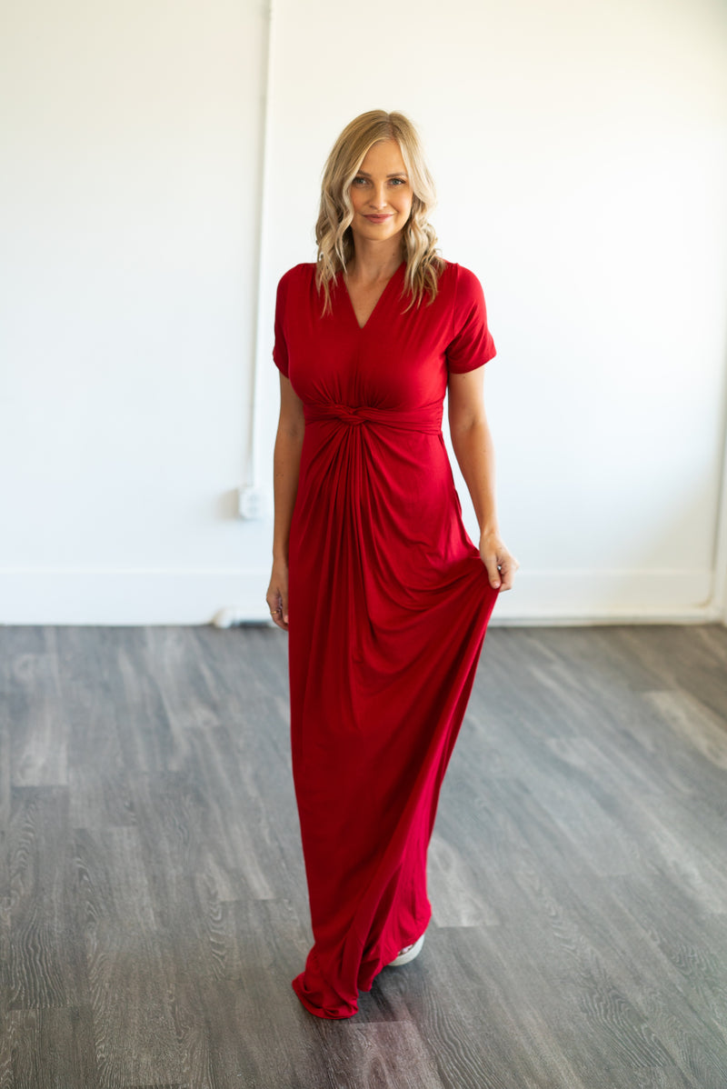 The Solid Maxi with a Twist in Fire Red (Sizes S-3X)