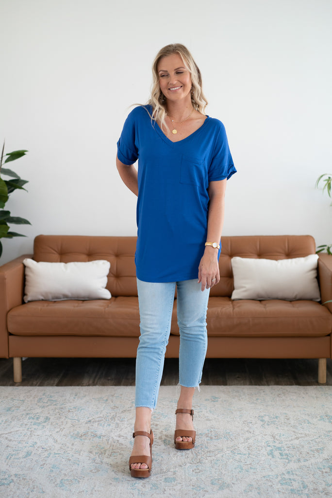 The Tireece Boyfriend Royal, comfortable, short sleeve, V-neck, soft fabric, cute top, women's fashion, Wren & Ivory, Wren and Ivory, cuff sleeve, royal blue tee, blue, made in the USA, Plus size, extended sizing
