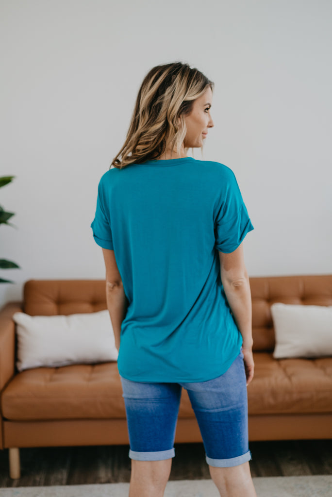 The Tireece Boyfriend Tee in Teal, comfortable, short sleeve, V-neck, soft fabric, cute top, women's fashion, Wren & Ivory, Wren and Ivory, cuff sleeve, blue teal tee, teal green, made in the USA