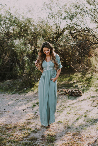 The Scarborough Wrap Skirt Maxi in Dusty Blue