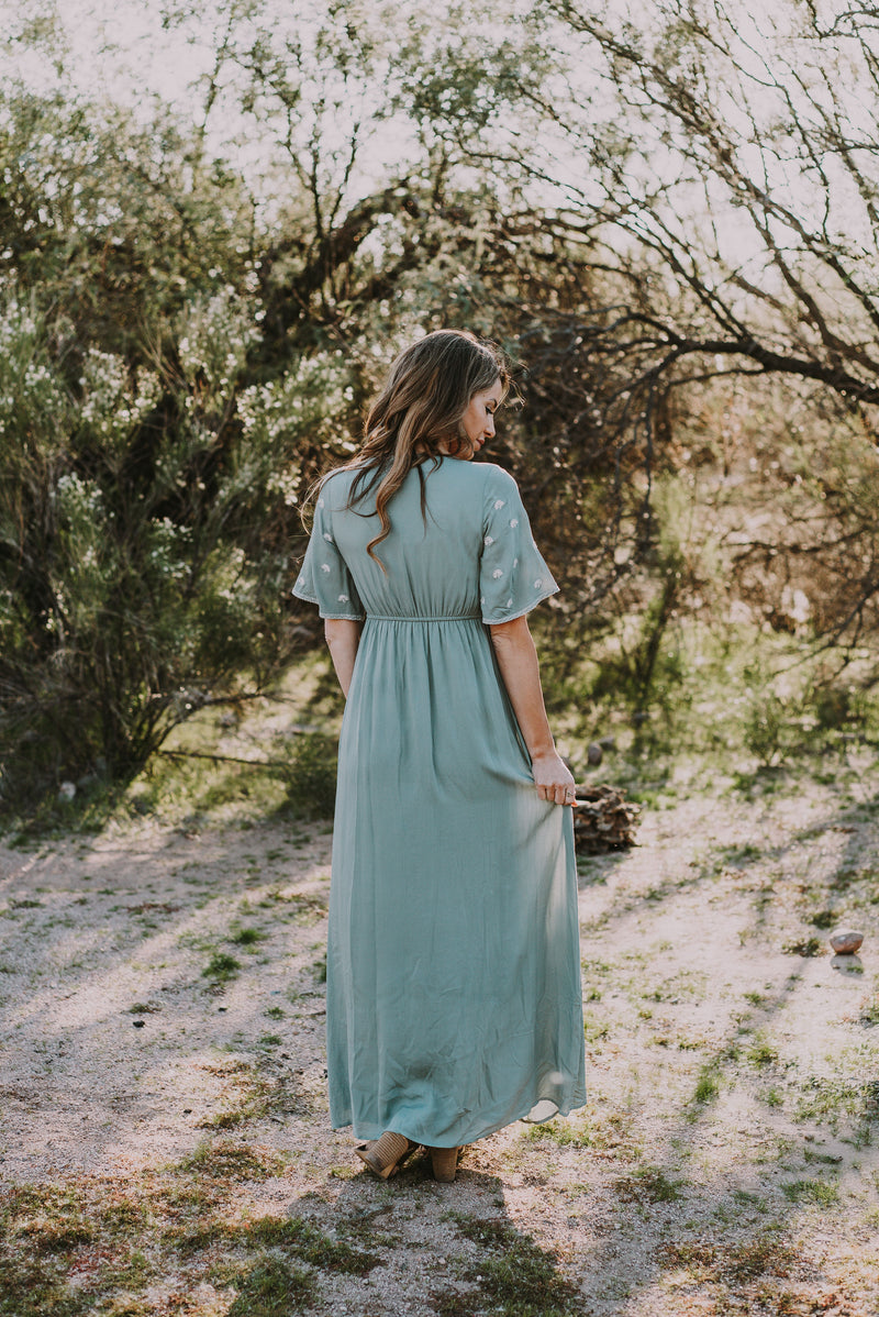 The Tempest Embroidered Maxi in Sage (Sizes XS-3X)