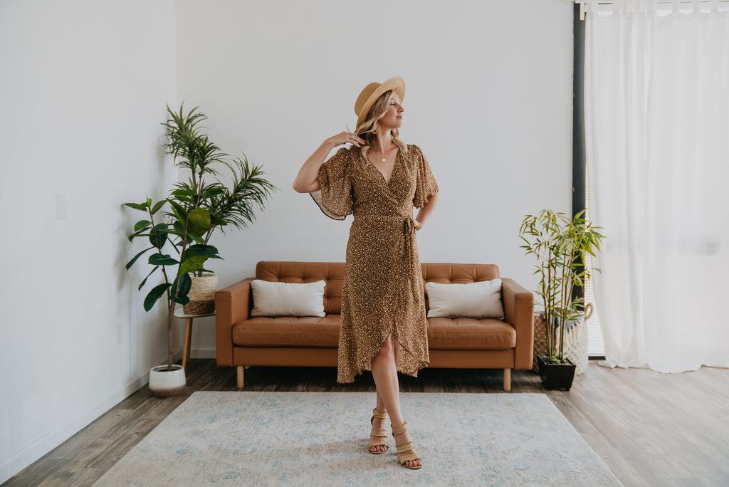 The Yasmine Wrap Midi in Caramel