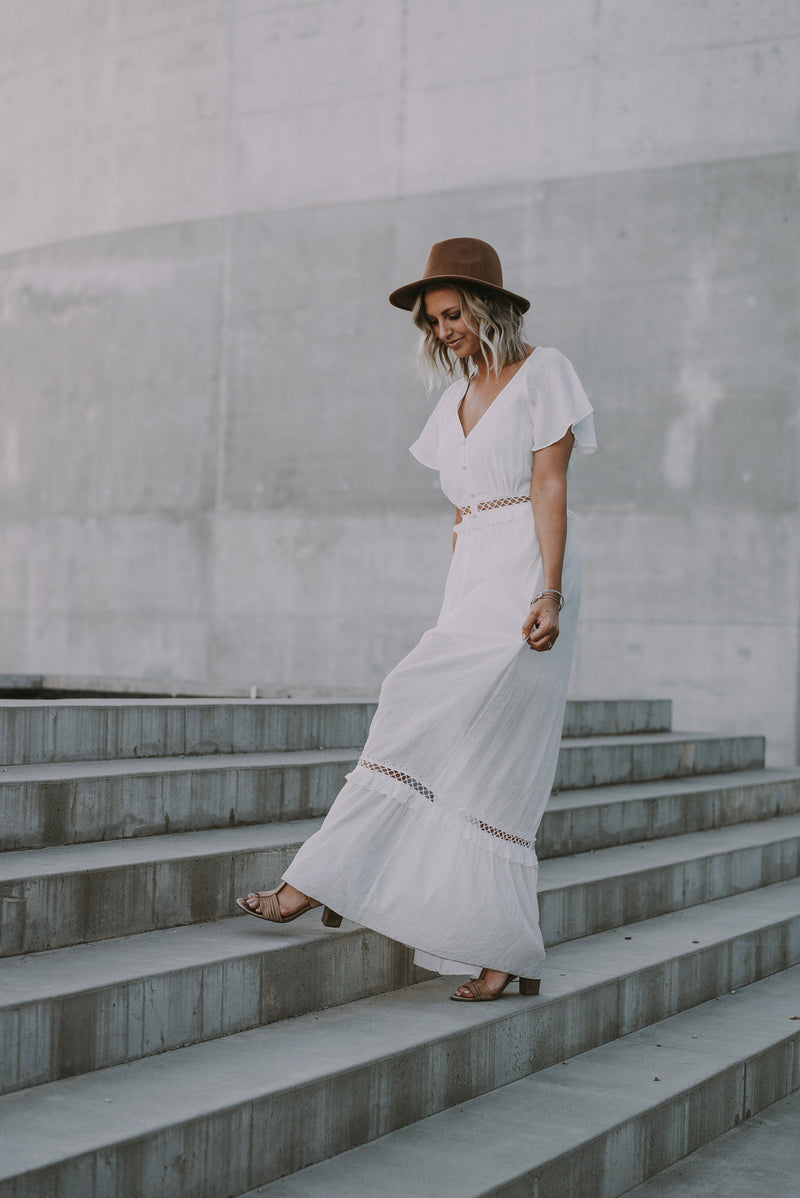 The Madie Cut-Out Maxi in Ivory (Sizes S-XXL)