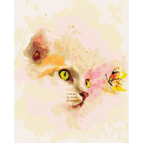 Paint by Numbers Kit Kitten and Butterfly T50400026