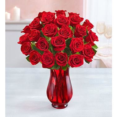 1-800-Flowers Two Dozen Red Roses with Red Vase- Price Includes Shipping
