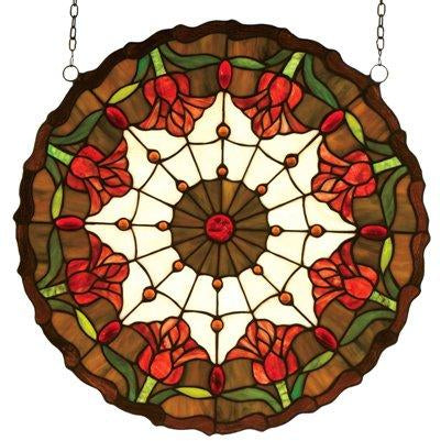 Colonial Tulip Medallion Stained Glass Window- Free Shipping