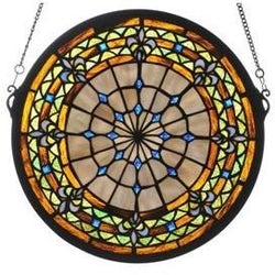 Fleur-De-Lis Medallion Stained Glass Window Round- Free Shipping
