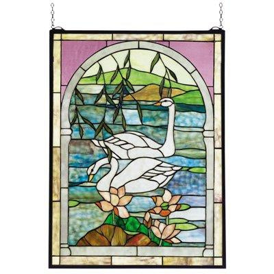 Swans Stained Glass Window- Free Shipping