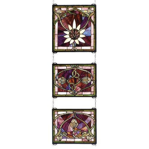 Solstice 3 Piece Stained Glass Window- Free Shipping