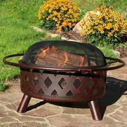 Sunnydaze Bronze Crossweave Fire Pit- Multiple Sizes & Free Shipping