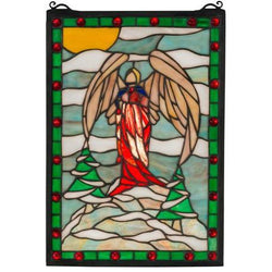 Winter Angel Stained Glass Window- Free Shipping