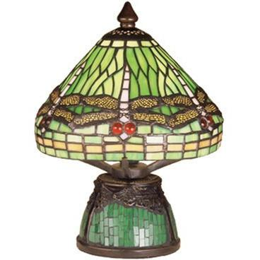 Tiffany Dragonfly W/Tiffany Mosaic Base Mini Lamp- 10.5 Inch H- Free Shipping
