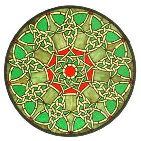 Knotwork Trance Medallion Stained Glass Window- Free Shipping