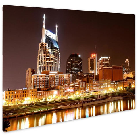Nashville At Night Giclee Metal Panel Print 16x20- Free Shipping
