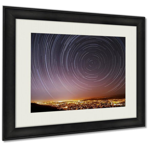 San Jose Star Trails Wall Art Decor Giclee Photo Print In Black Wood Frame, Soft White Matte, Ready to hang 16x20- Free Shipping