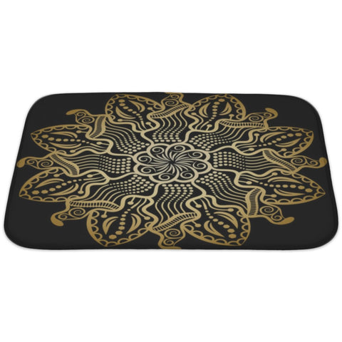 Mandala Gold Black Bath Rug Mat- Free Shipping
